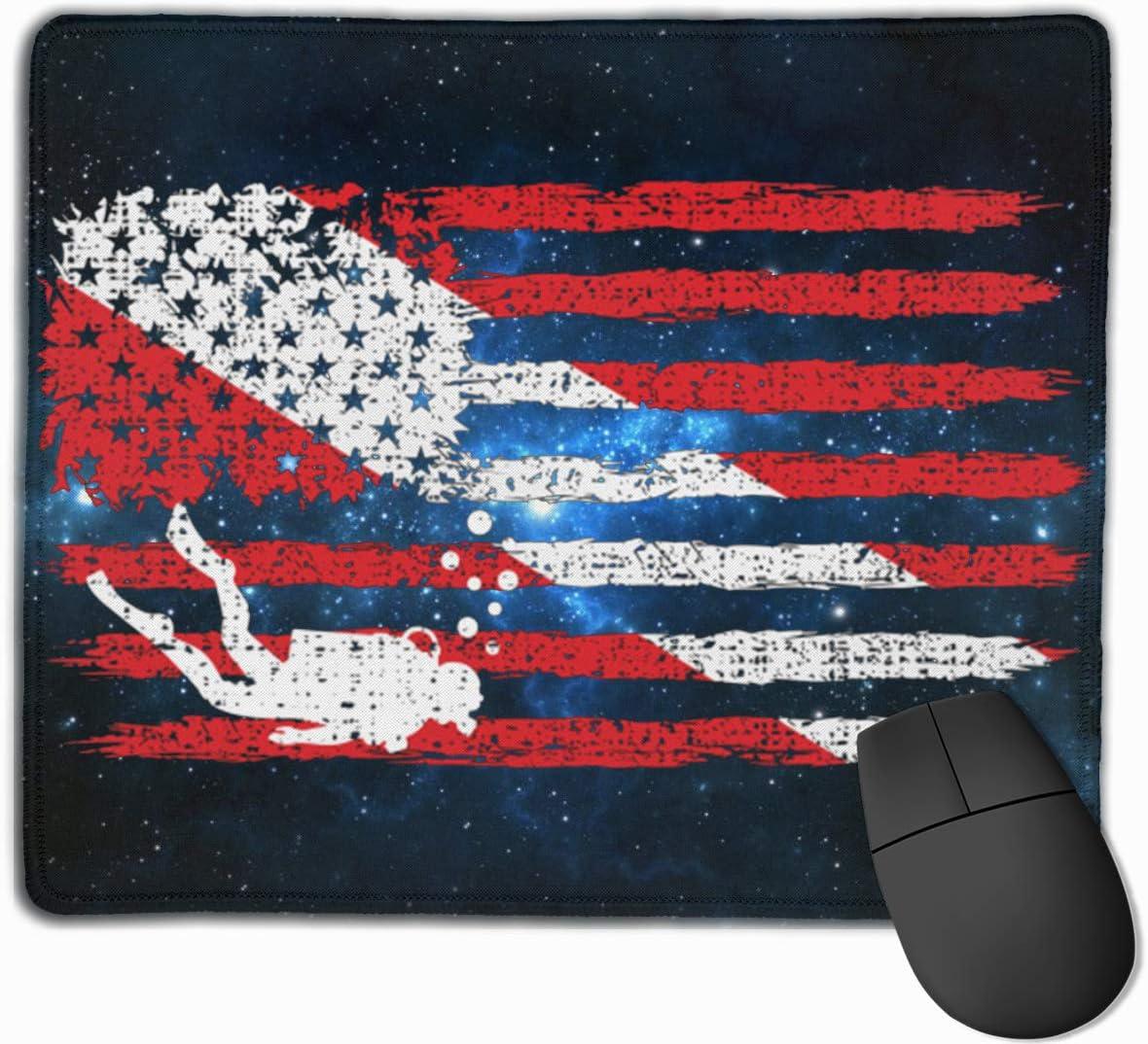 USA Scuba Diving Dive Flag Rectangle Non-Slip Rubber Mousepad Gaming Mouse Pad 25X30cm