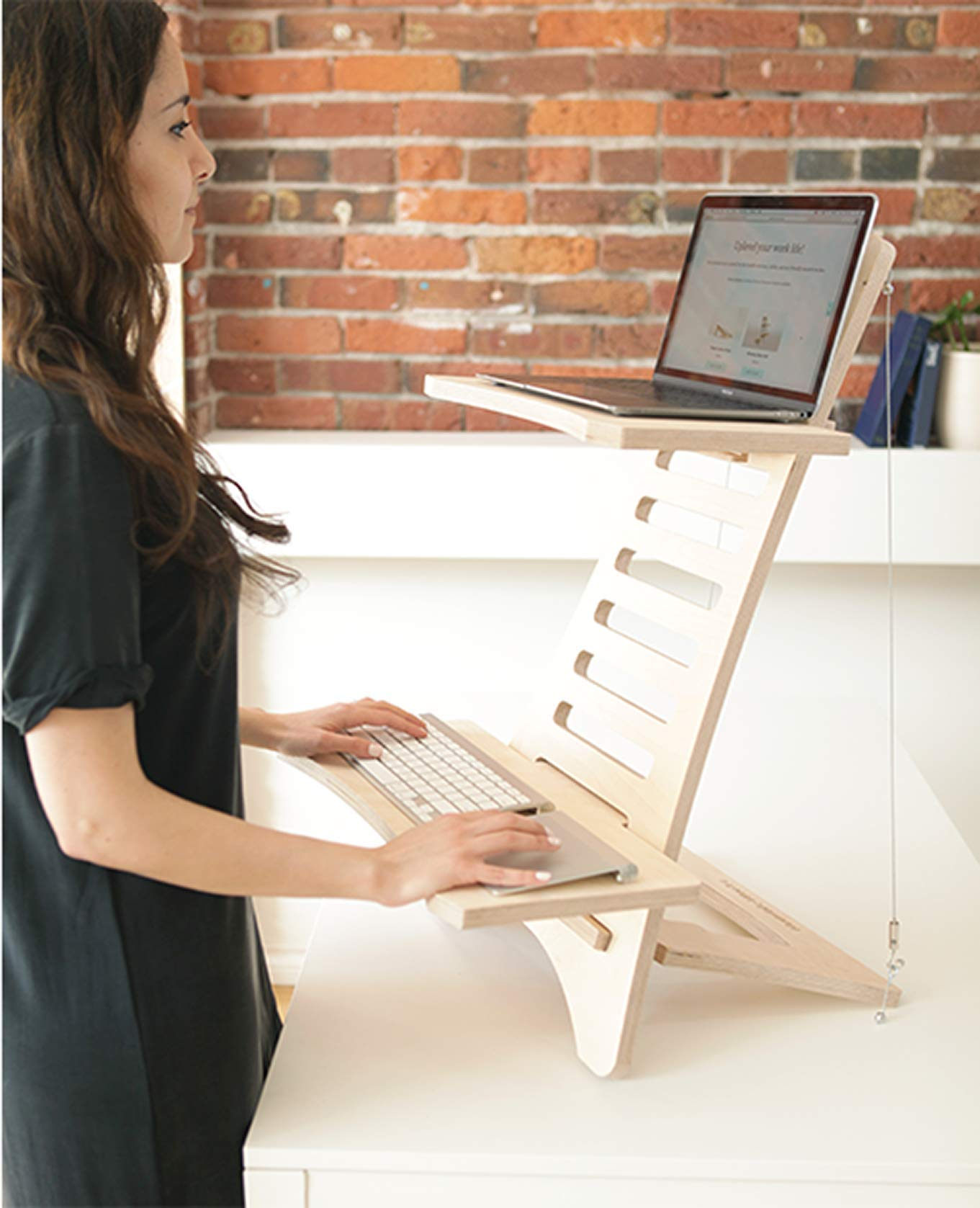Standing Desk - Sit Stand Workstation MacBook PC Laptop Height Adjustable Natural Wood by HumbleWorks (Image #4)