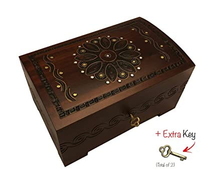 Amazoncom Large Flower and Holly Wood Jewelry Chest with Lock and