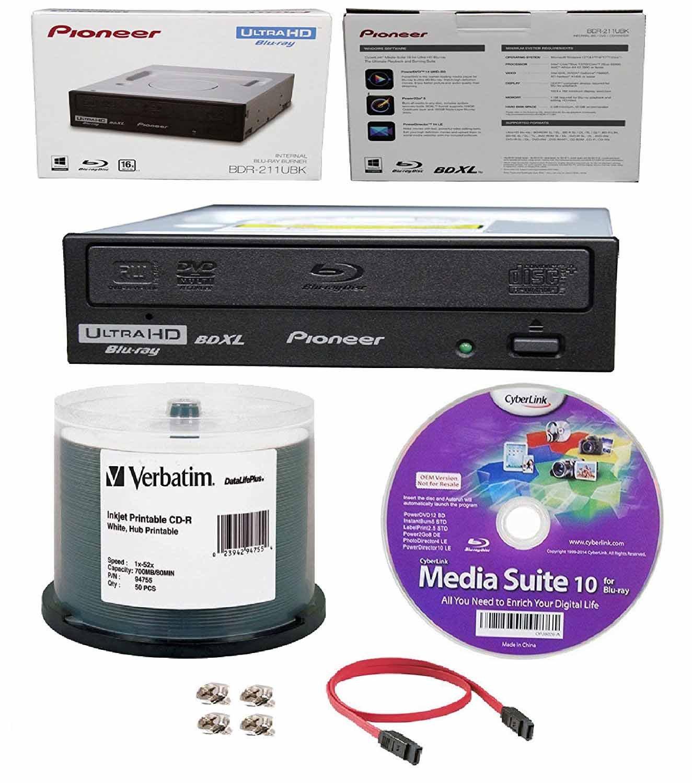 Pioneer 16x BDR-211UBK Internal Ultra HD Blu-ray BDXL Burner, Cyberlink Software and Cable Accessories Bundle with 50pk CD-R Verbatim 700MB 52X DataLifePlus White Inkjet, Hub Printable