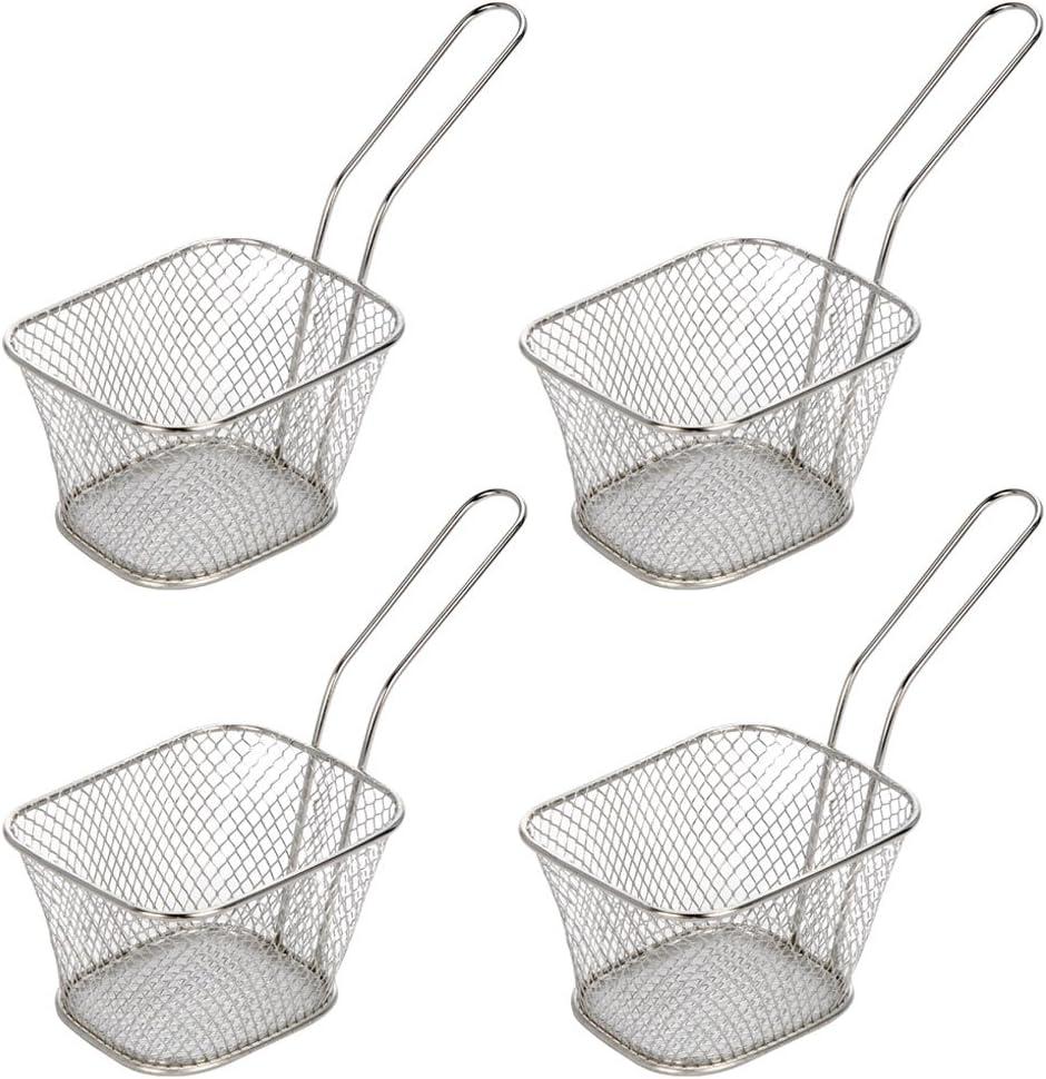 8PCS Mini Frittierkorb Frittierkörbchen Pommes Servierkorb Pommesschale Korb