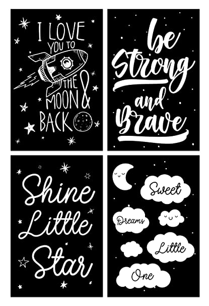 Love You to The Moon Poster, 11x17 Inches, Set of 4, Boys Room, Kids  Nursery Play Room Art Wall Print Decor