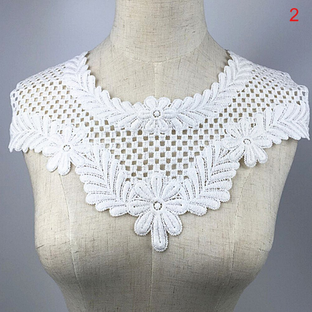 1 Pcs Embroidered Floral Lace Neckline Patches Neck Collar Trim Clothes Sewing Applique by TOYZHIJIA The glass Heart