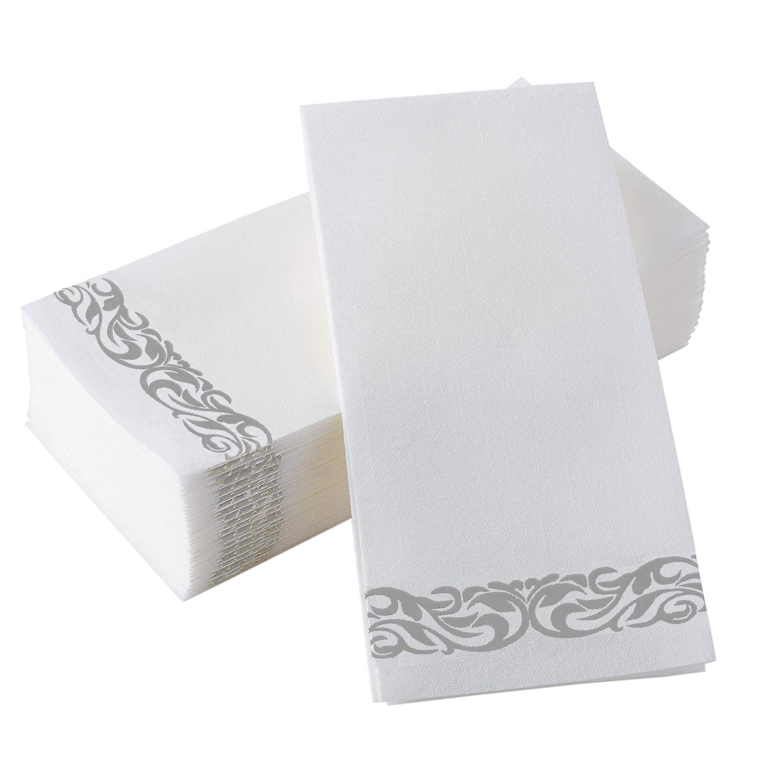 Gmark Decorative Linen-Feel Guest Towels - Silver Floral Premium Bathroom Hand Towels, Pack of 100-12x17 Inches for Dinner, Wedding and Cocktail Party Disposable Soft & Durable GM1059B