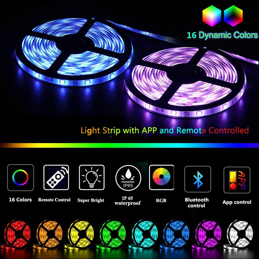 LED Strip Lights Targherle 10M//32.8ft 300 LEDs Color Changing LED Light Strip 5050 RGB Rope Lights with Bluetooth Controller Sync to Music APP for Home Kitchen TV Holiday Party