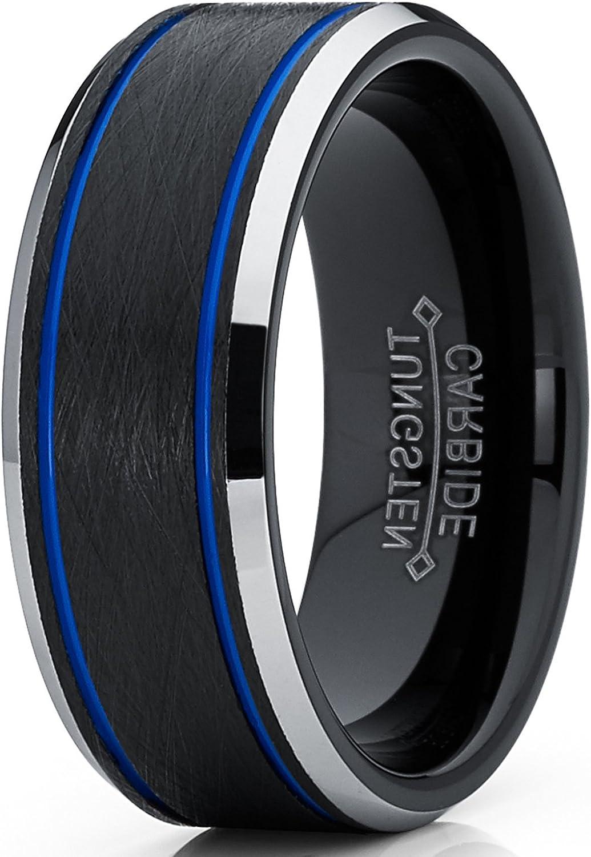 Herren blau und schwarz wolframcarbid geb/ürstet ehering 8mm Metal Masters Co