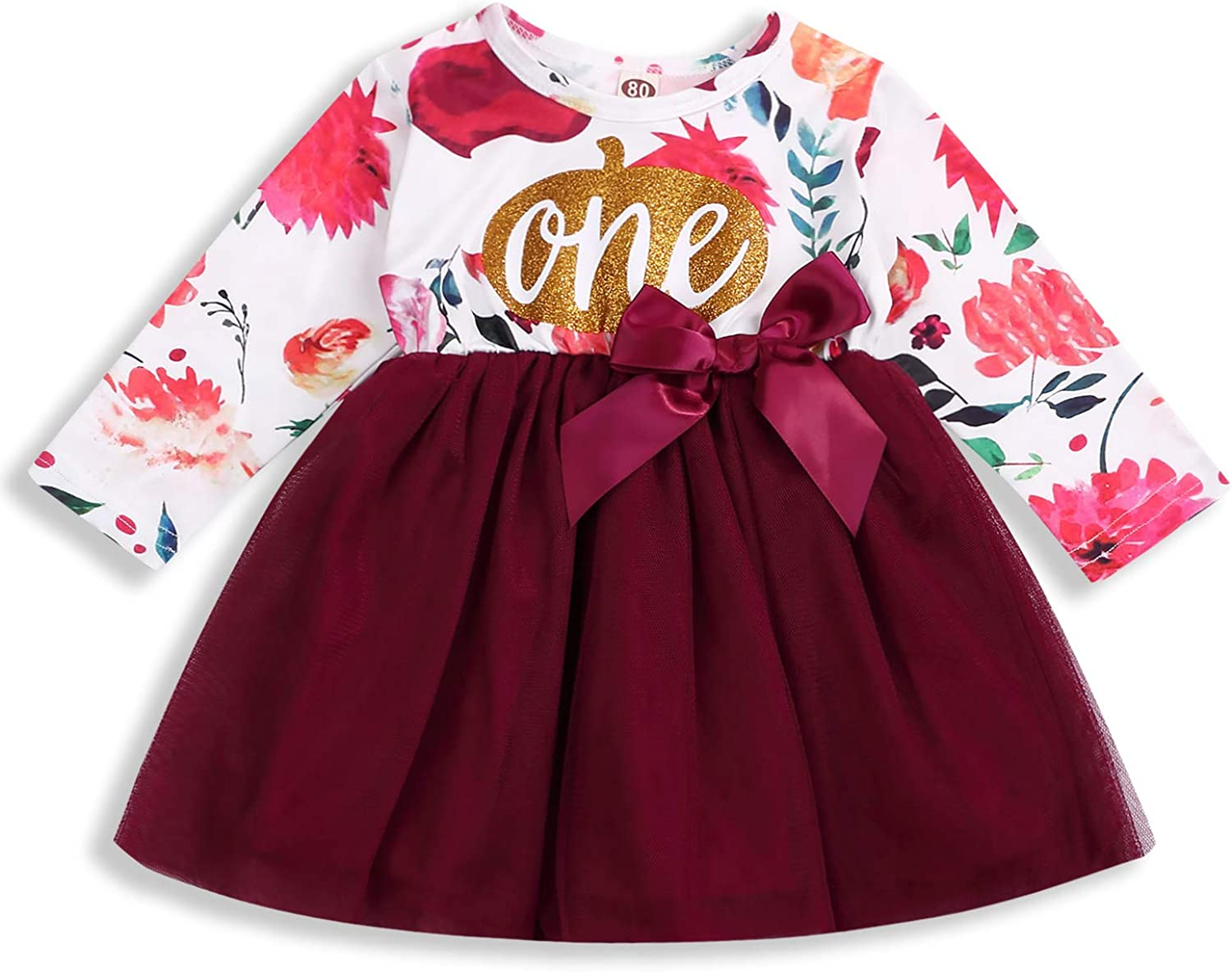 Toddler Baby Girl Skirts Sets Birthday Tutu Dress Floral Print Bowknot Long Sleeve Fall Outfits 1-5T Clothes