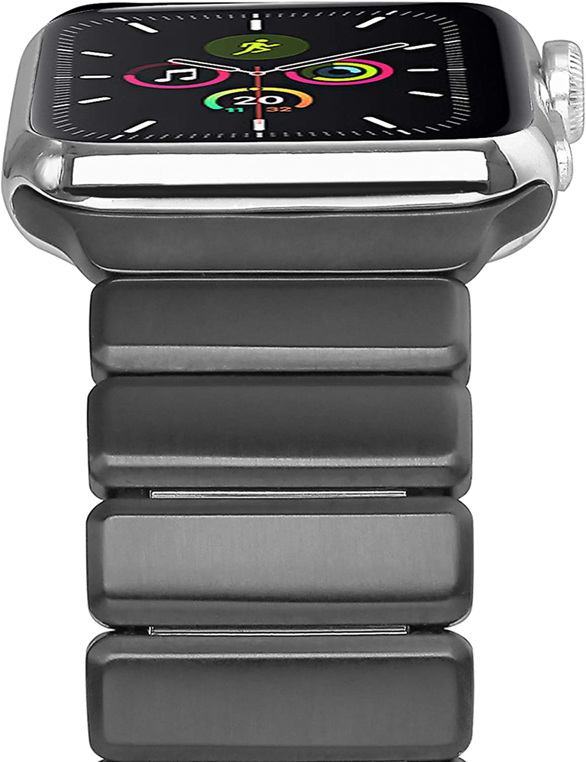 Cogift Watch Band for Apple Watch Series6, 44mm/42mm Stainless Steel Replacement Strap Link Bracelet Metal iWatch Band with Double Button Folding Clasp for Apple Watch 6/5/4/3/2/1/SE -Space Gray