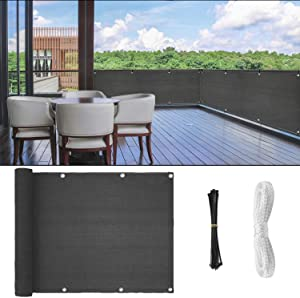 Fence Privacy Screen, 3ft x16ft Mesh Fence Windscreen for Porch Deck, Outdoor, Backyard, Patio, Balcony to Cover Sun Shade, UV-Proof, Weather-Resistant (Gray)