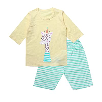OllCHAENGi Toddler Kids Boys Girls Cotton Pajama Set 3/4 Sleeve 3T-14Y Giraffe Yellow