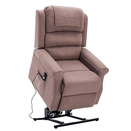 Royal Way Electric Power Lift Recliner Chair Classic Comfortable Brushed Linen Fabric Lounge for Elderly Gift Nursing Home Equipment Brown