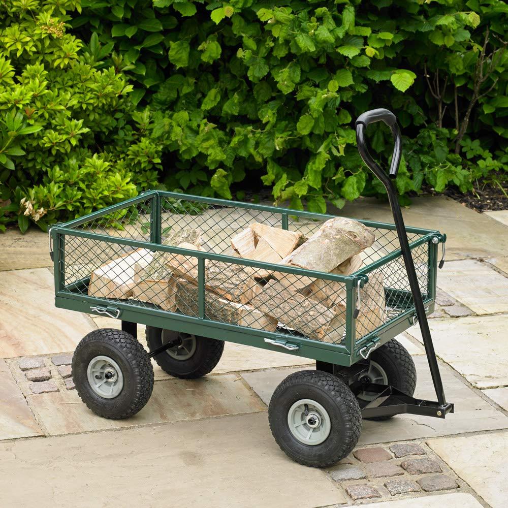 Wido 100 Litre Green 4 Wheel Heavy Duty Garden Cart Wheelbarrow Utility Truck
