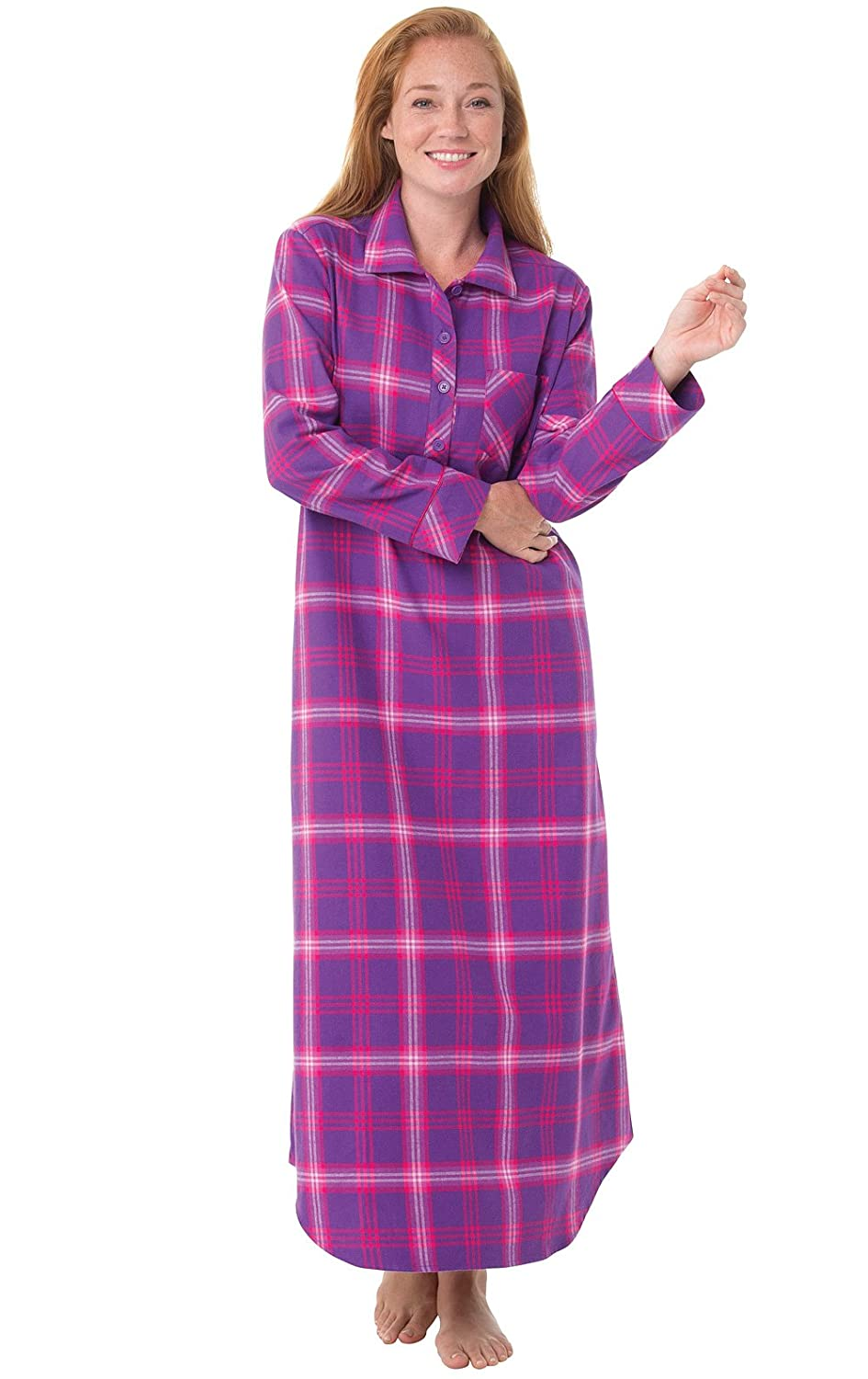 PajamaGram Women's Raspberry Plaid Flannel Nightgown