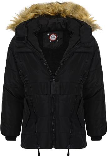 LOTMART Girls Quilted Winter Coat Kids Detach Hood Padded Jacket Fur Lining Zip