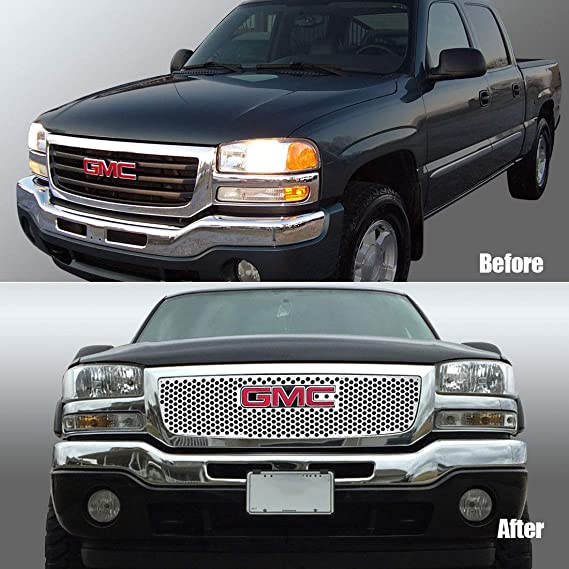 for GMC Sierra Grille Stainless Laser Cut Grill Sheet Compatible with 2003-2006 GMC Sierra 1500 2500 HD with Logo Show