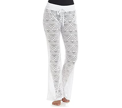 4dfa2151aa Image Unavailable. Image not available for. Color: Miken Womens Lace Wide  Leg Pants Swim Cover-Up White L