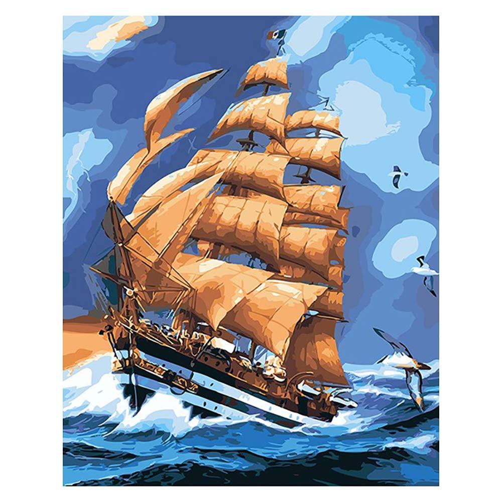 Malen nach Anzahl Kit, DIY Ölgemälde Zeichnung Leinwand mit Pinsel Dekor Dekorationen Geschenke - 16 * 20 Zoll