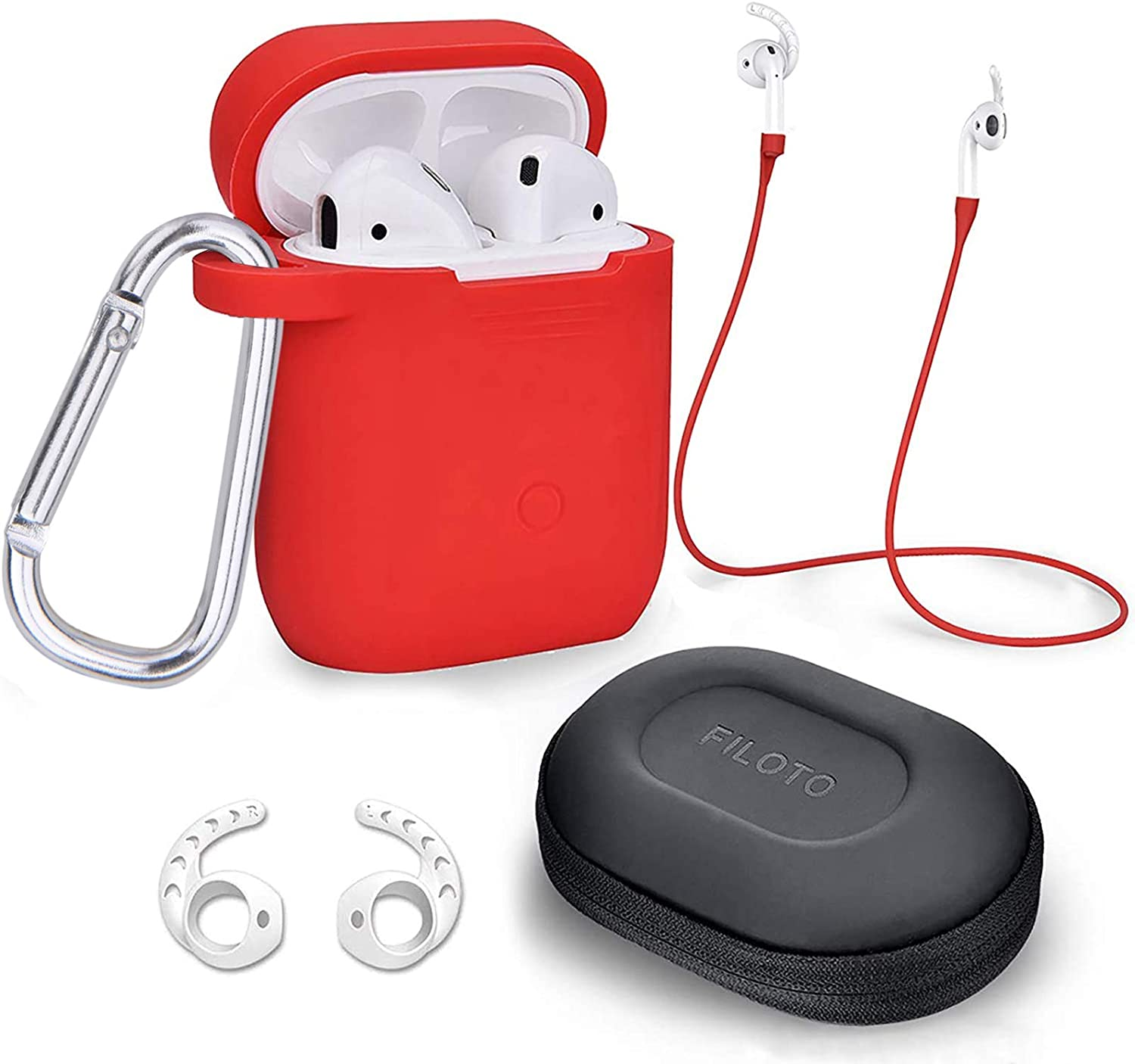 Case for Airpods Accessories Set, Filoto Airpod Silicone Case Cover with Keychain/Strap/Earhooks/Accessories Storage Travel Box for Apple Airpods 2&1, Best Gift for Your Air Pod (Red)