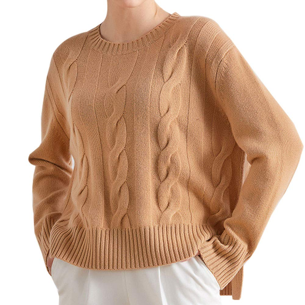Womens Cashmere Solid Soft Cosy Loose Fit Thermal Chunky Boat Neck Sweater Tops Sweatshirt Brown US 6
