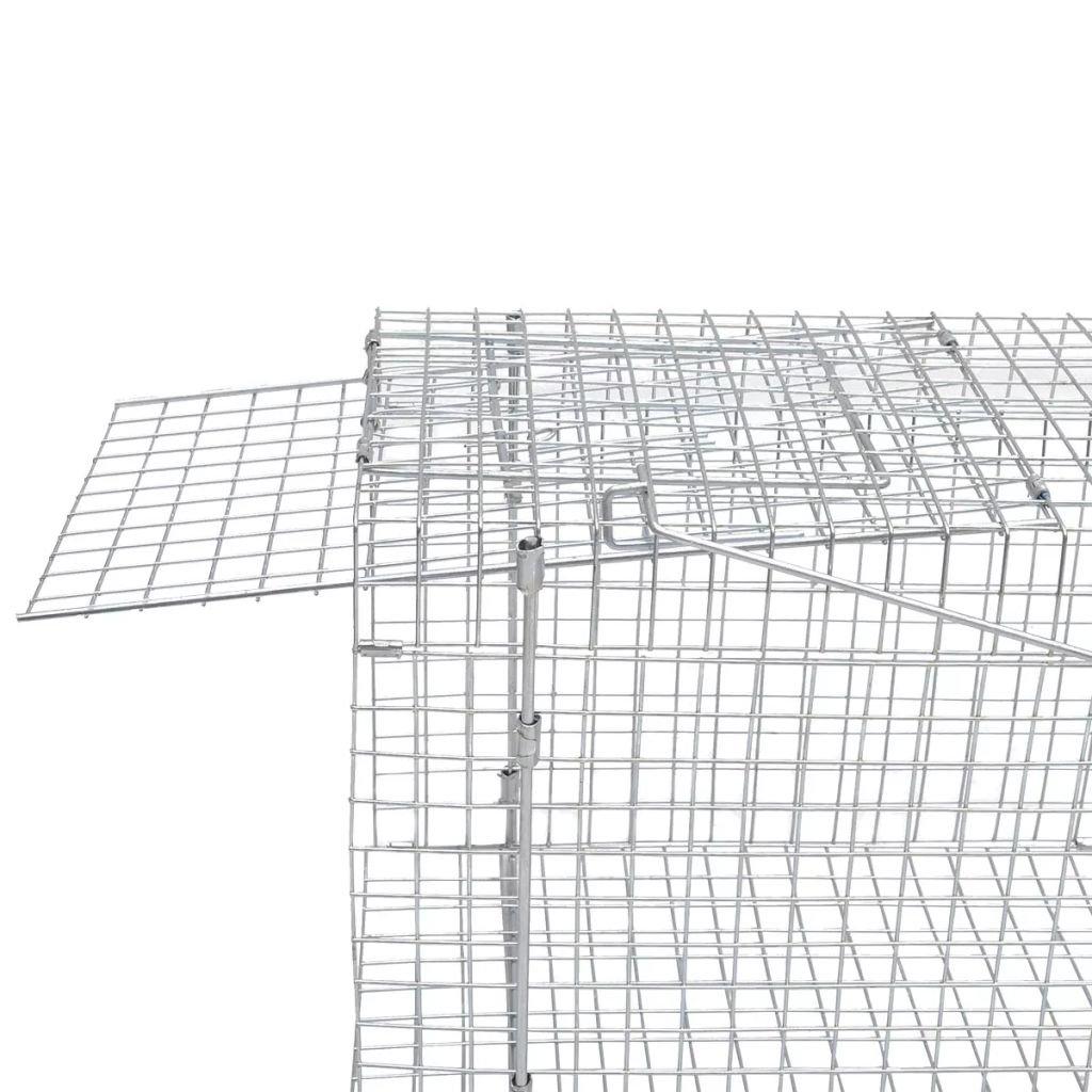 vidaXL Trampa galvanizada para capturar Animales Vivos 150 cm ratonera Jaula jard/ín