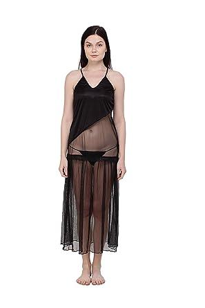 218d50f37c You Forever Women s Satin Night Dress (YF-D001-BLK-F