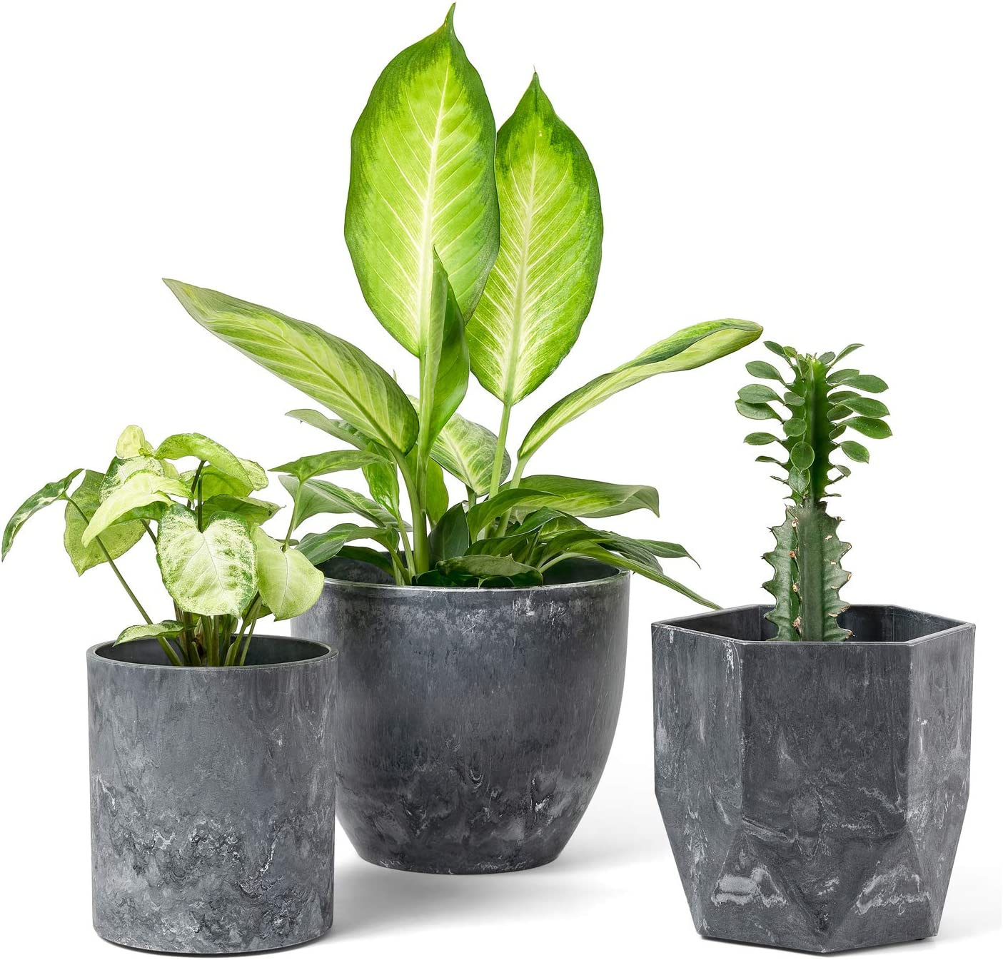 Dahey Resin Flower Pots with Drinage Indoor Plant Pots Outdoor Graden Planter, 3 Different Shape Marble Pattern Container Modern Industrial for Succulent Herb Plants, Grey (8+6+5 Inch)