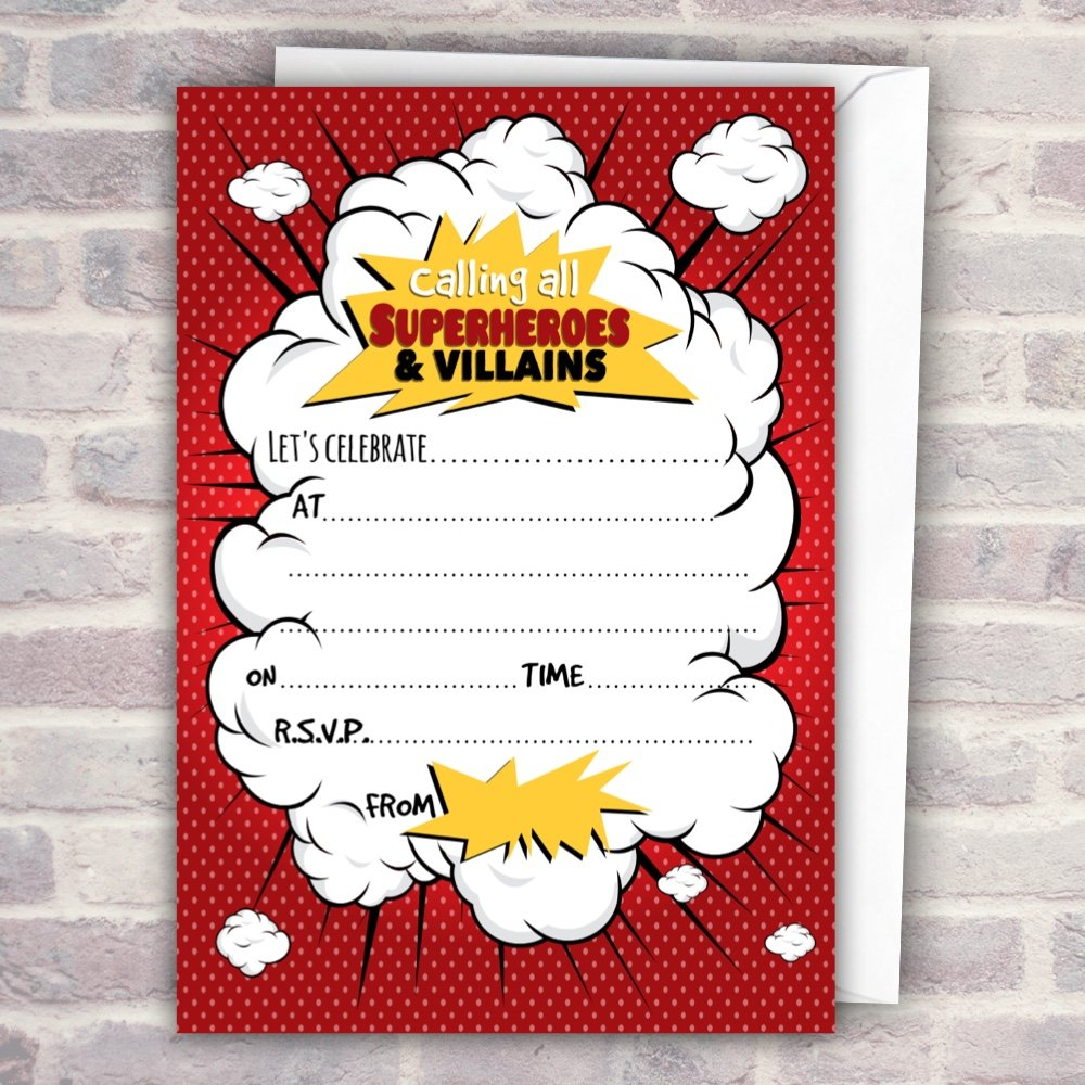 Superhero & Villains Comic Glossy Party Invitations x 20 with ...