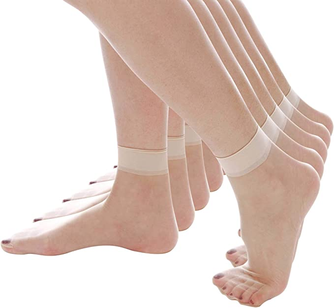 FREE P/&P 10 x Pairs of Sheer Ankle Socks Anklets  Natural or Black One Size
