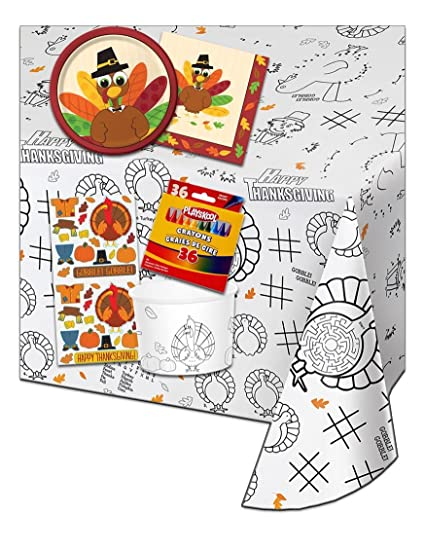 Kids Coloring and Activity Thanksgiving Tablecloth Bundle - 5 Items: 1 Paper Table Cover, 1 Box of Crayons, Treat Cups with Stickers, Plates & Napkins