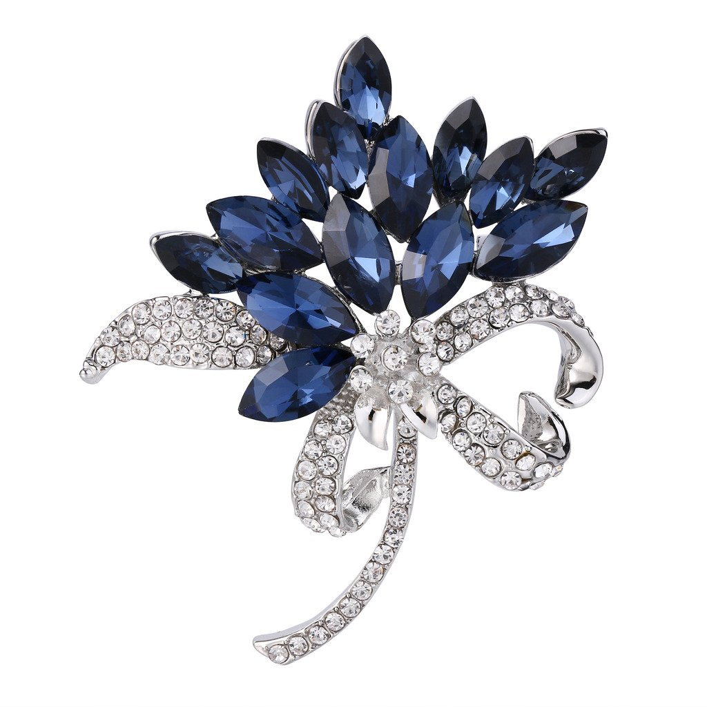 BriLove Women's Wedding Bridal Crystal Multi Marquise Corsage Brooch Pin Sapphire Color Silver-Tone 12001576-1ca