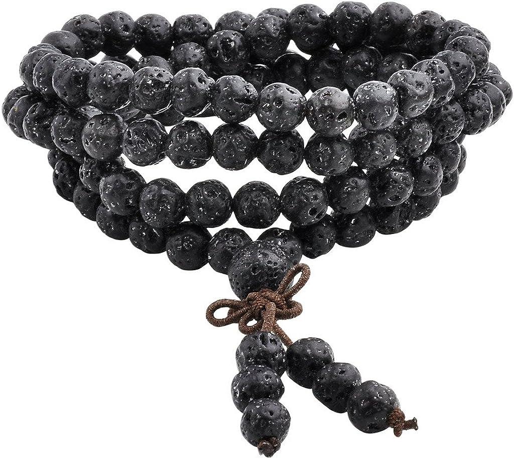 Jovivi 6mm 8mm Natural Lava Rock Stone Healing Gemstone 108 Prayer Beads Tibetan Mala Bracelet Necklace