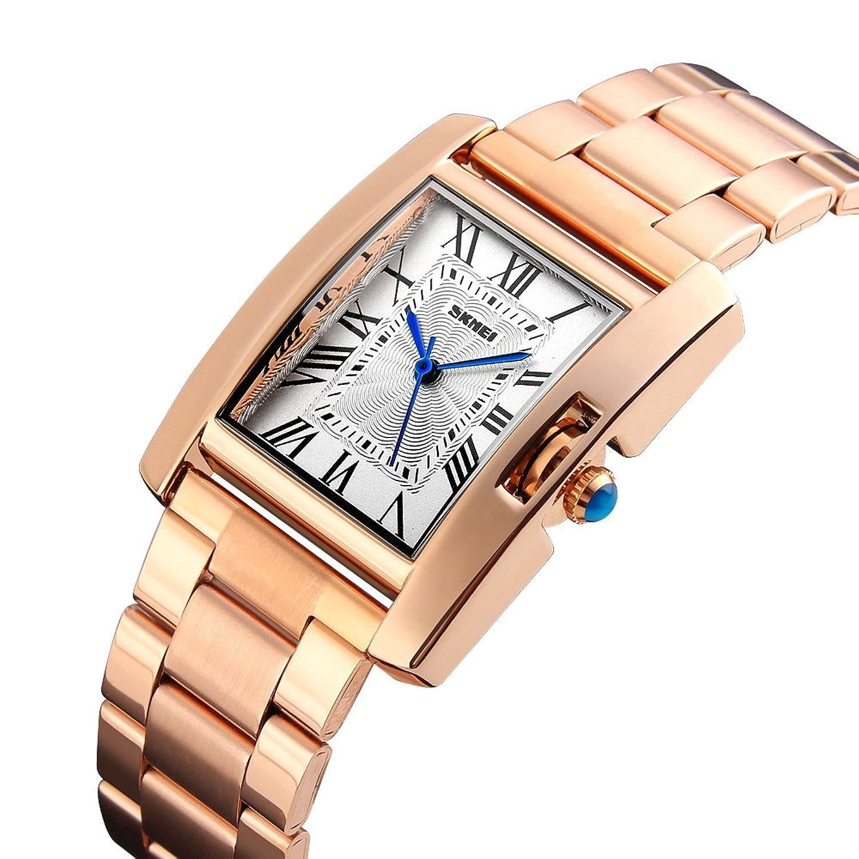 9a7484dfbd1c5 SKMEI Women Watch Rectangle Rose Gold Silver Stainless Steel Waterproof  Luxury Quartz Analog
