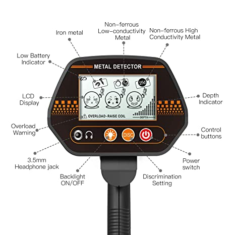 Amazon.com : Metal Detector, 3 Modes Waterproof Metal Detector with Larger Back-lit LCD Display and Distinctive Audio Prompt & DISC Mode - Carrying Bag ...