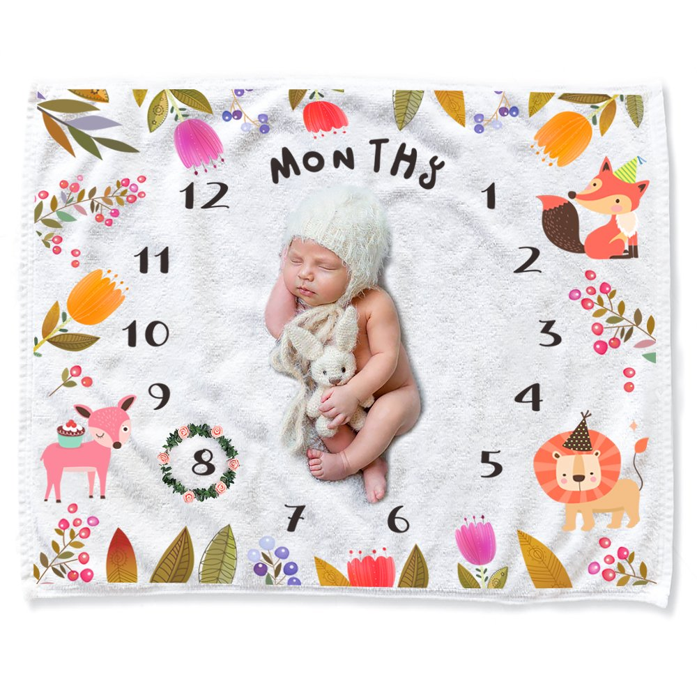 CAVN Baby Monthly Milestone Blanket Shower Gifts Set for Girl Boy, Thick/Soft/Cozy Flannel 0-12 Months Photography Backdrop Photo Props for Newborn Infant and New Expectant Moms (Green) SFC0129-1