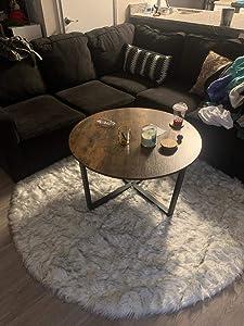 LEEVAN Super Soft Faux Fur Sheepskin Rug Shaggy Rug Round Area Rugs Floor Mat Home Decorator Carpets Kids Play Rug White and Black,6 Diameter