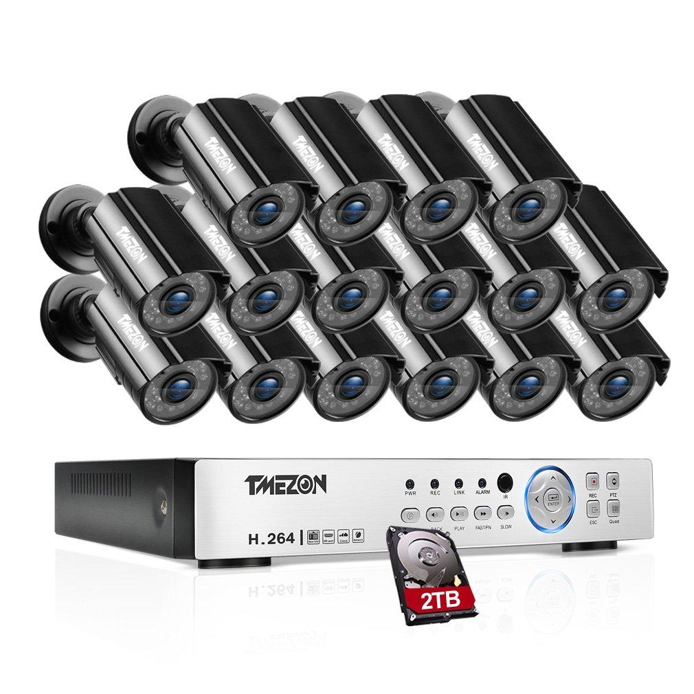 TMEZON AHD防犯カメラ16台セット 200万画素 赤外線LED24個 3.6MMレンズ&AHD レコーダー 2TB HDD付き(ブラック) B07BS4ZQBY 16台カメラ+16CHレコーダーセット+2TB 16台カメラ+16CHレコーダーセット+2TB