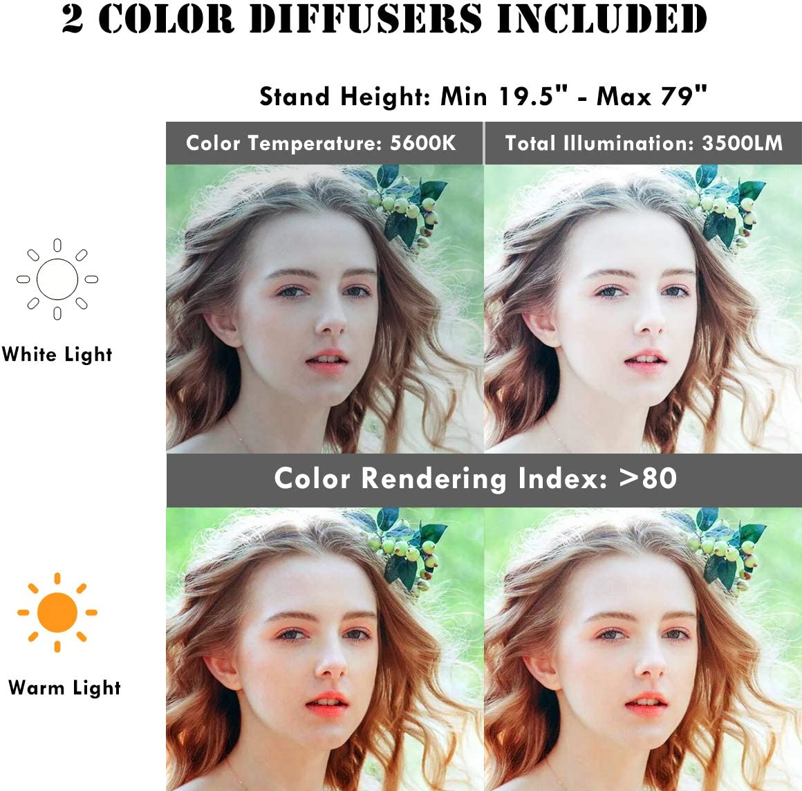 Plastic Color Filter Set Vine Self-Portrait Video Shooting Safstar 12 LED Ring Light Flash Video Light 35W 5600K Dimmable with Stand Carrying Case for Smartphone YouTube