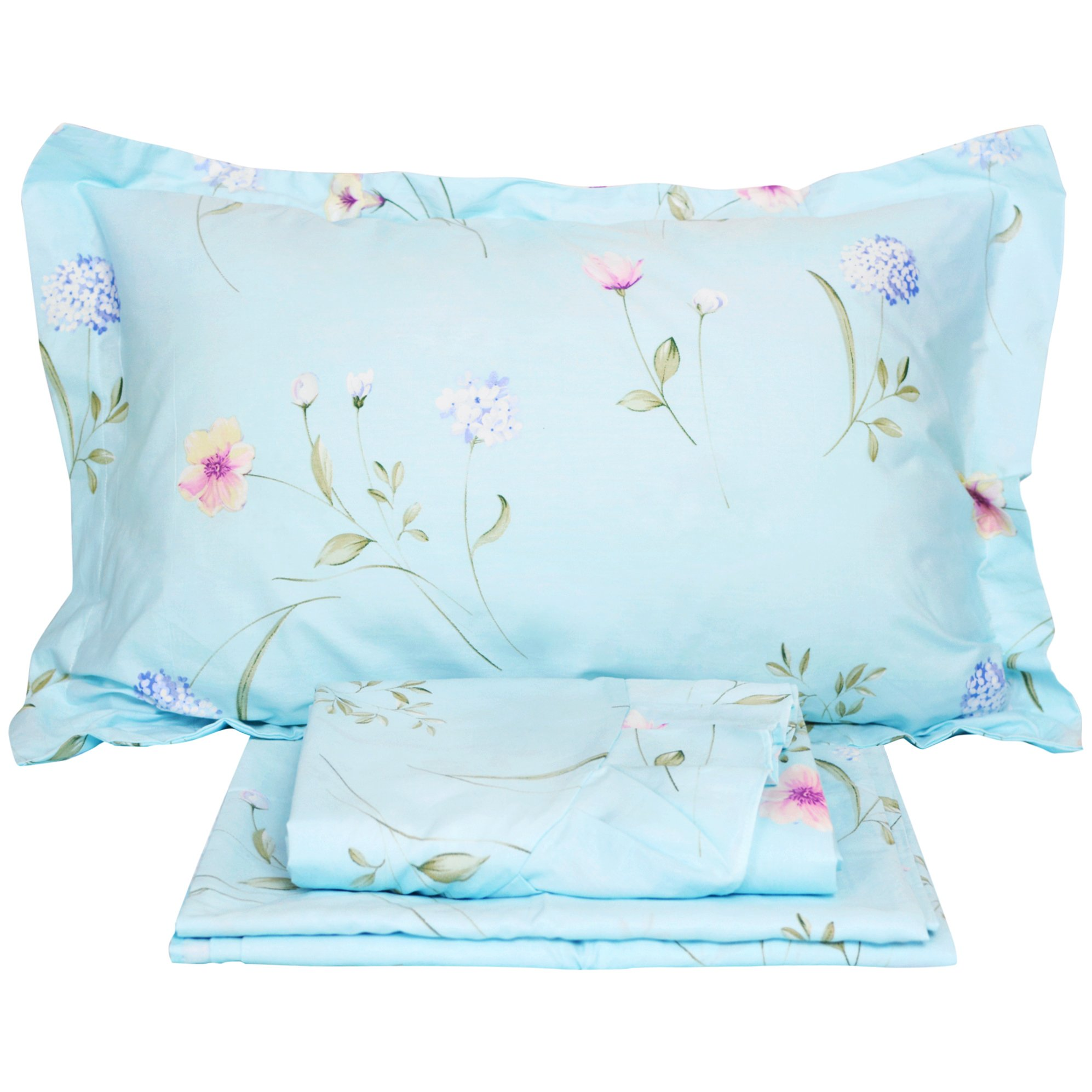 FADFAY Cotton Bed Sheet Set Blue Hydrangea Floral Bed Sheets 4-Piece Queen Size