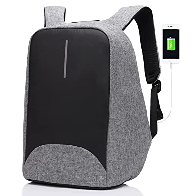 SAMI TUDIO Anti-theft Backpack with USB Charging Port Business Laptop Backpack Fits to 15.6 Inch Computer Lightweight Water-resistant Knapsack Gray CB0402 …