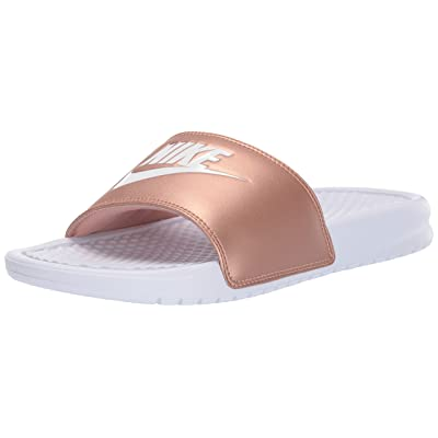 Nike Women's Benassi Just Do It Sandal, White/White - Metallic/red/Bronze, 6 Regular US | Sandals
