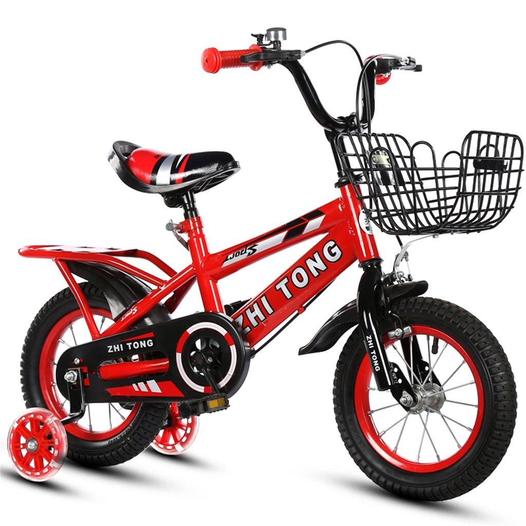 KANGR-子ども用自転車 子供用自転車アウトドアマウンテンバイク2-3-6-8ボーイズとガールズ子供用おもちゃ調節可能ハンドルバー/フラッシュトレーニングホイールとシート付きサドル-12 / 14/16/18インチ ( 色 : 赤 , サイズ さいず : 14 inch ) B07BTWQ349 14 inch|赤 赤 14 inch