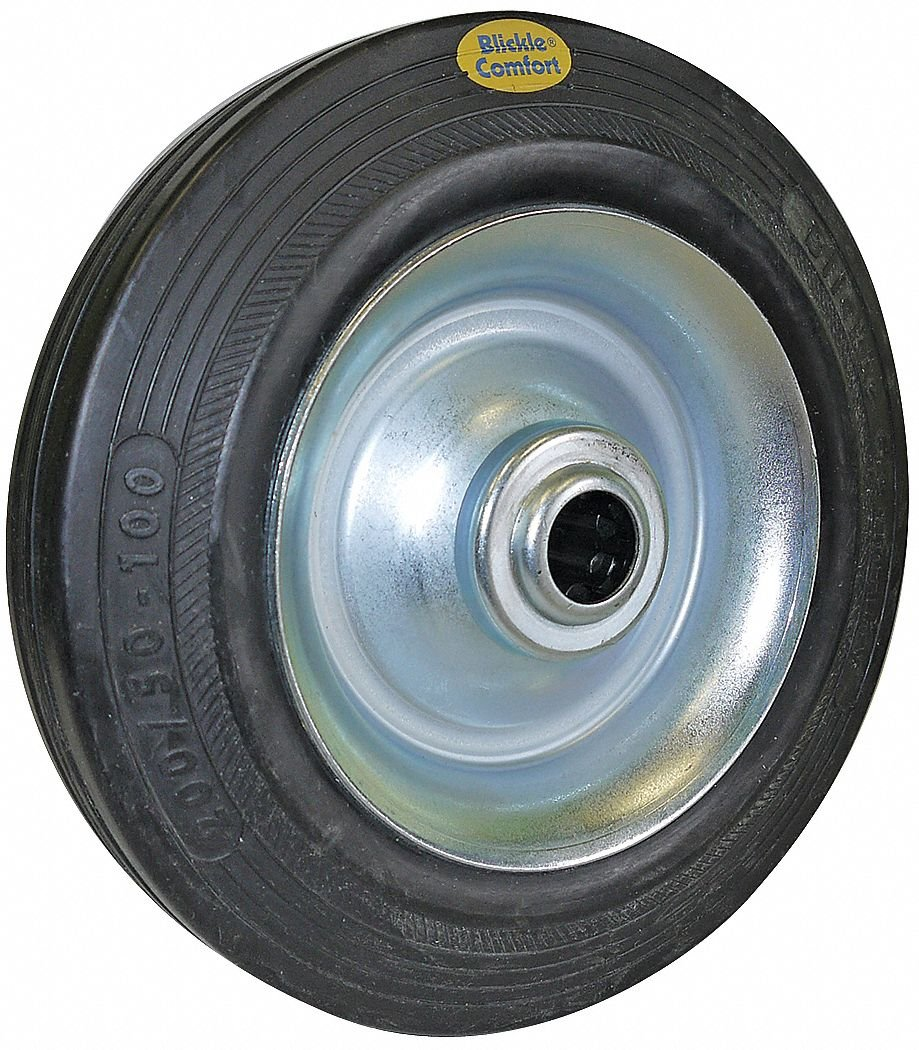6-1/4'' Caster Wheel, 500 lb. Load Rating, Wheel Width 1-5/8'', Rubber, Fits Axle Dia. 1/2''