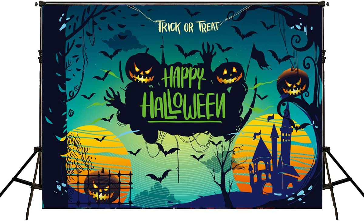 2020 Halloween Themed Backdrop Halloween Pumpkin Theme Birthday Baby Shower Photo Studio Photography Pictures Background Party Home Decor Decoration Shoot 10x7ft E00T10502