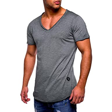 497a50855570c T-Shirt Homme Casual - Hommes Été T-Shirt Slim Fit col en V à ...