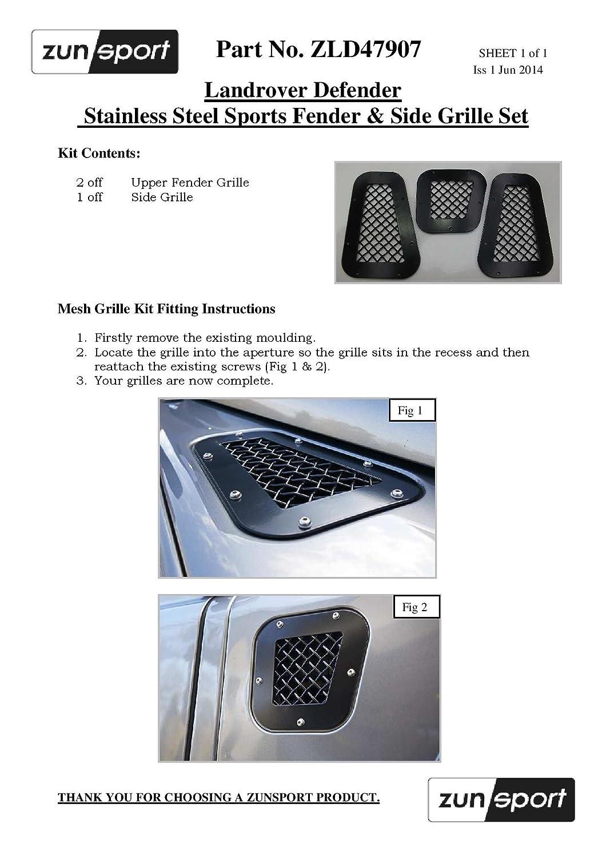 2007 onwards Zunsport Compatible With LandRover Defender Upper Grille Black finish