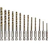 LESOLEIL Set de 13 forets HSS 1.5-6.5mm Avec Embout/Revêtement de nitrure de titane