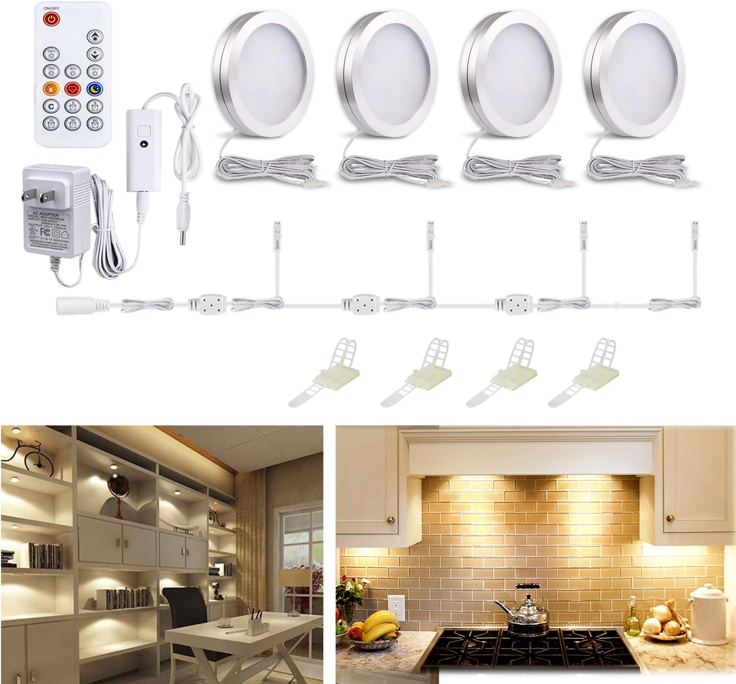 WOBANE LED Puck Lights, Wired Under Cabinet Lighting Kit with Remote, Dimmable Counter Lighting for Kitchen,Closet,Bookshelf,Shelf,700lm,3000K Warm White,Super Bright,Timing, Aluminum, Set of 4