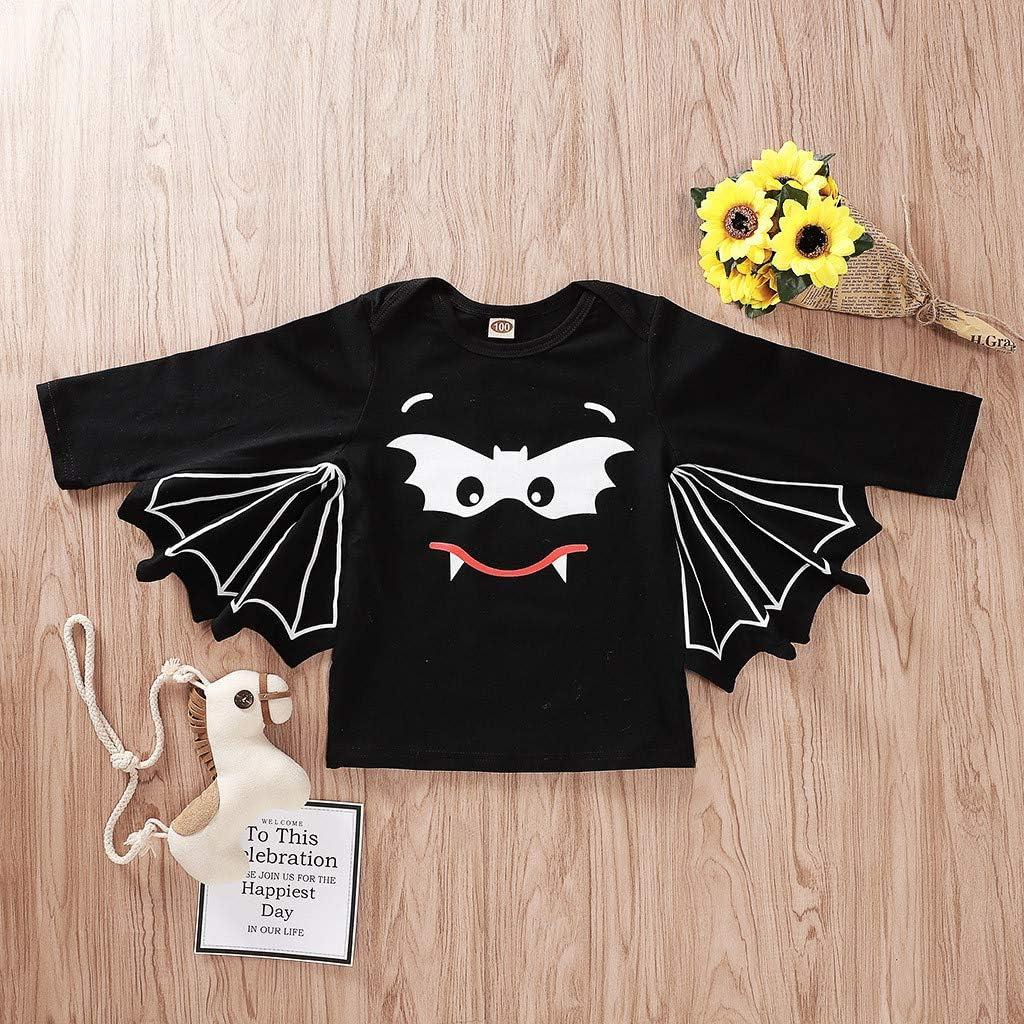 Sameno Toddler Newborn Baby Boys Girls Halloween Cosplay Costume Bat Sleeve Romper Hat Outfits Set