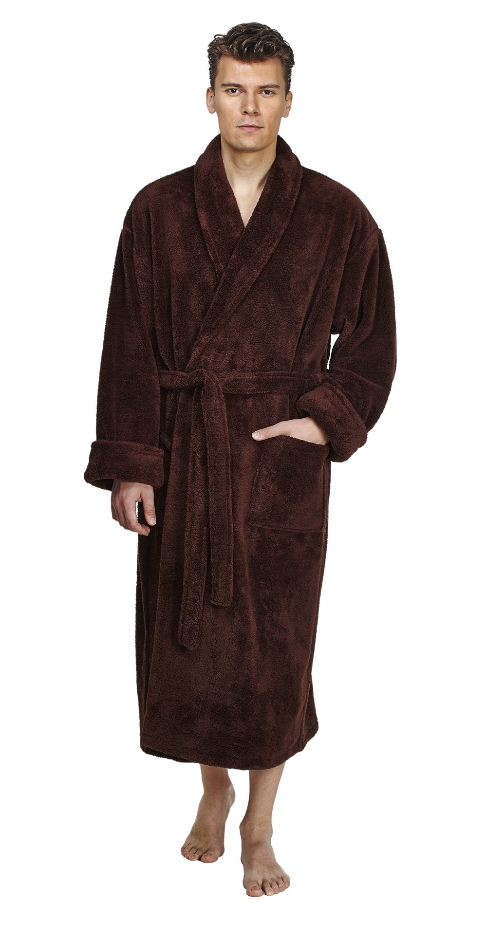 Arus Men's Shawl Fleece Bathrobe Turkish Soft Plush Robe, Brown, L/XL