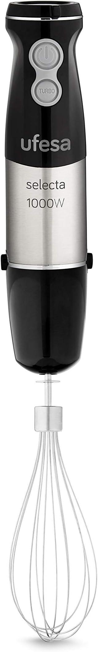 Ufesa Batidora de Varillas BP4571 Selecta con Accesorios, 1000 W, Negro y Acero, 20 velocidades y Turbo: Amazon.es: Hogar